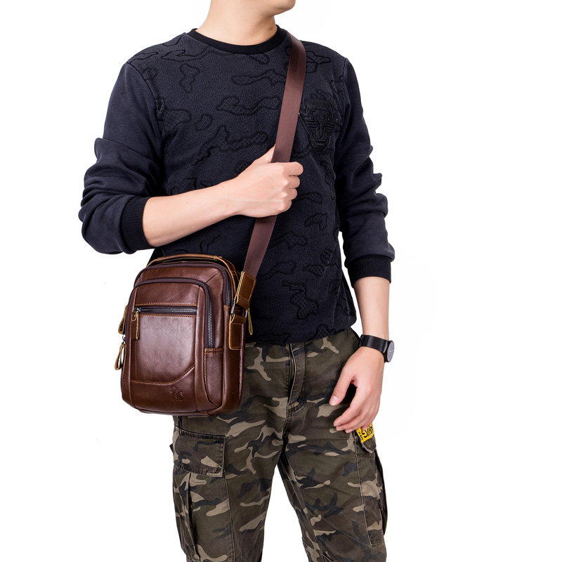 2019 Men Tote Bags Genuine Leather New Fashion Man Leather Messenger Bag Solid Cross Body Bags Shoulder Business Bags For Men in Crossbody Bags from Luggage Bags