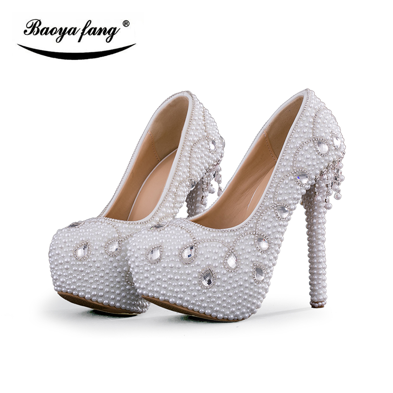 White pearl New arrival women Wedding shoes high heels platform shoes fashion ladies Party dress shoes insole quality shoes baoyafang new arrival white pearl tessal womens wedding shoes high heels platform shoes real leather insole high pumps female