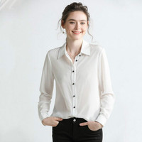 European and American style wild shirt 2019 spring new contrast color silk shirt female silk simple slim white shirt