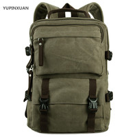 YUPINXUAN Europe Fashion Pure Cotton Canvas Backpacks For Teenagers Army Green Shool Backpack Unisex 14 Laptop