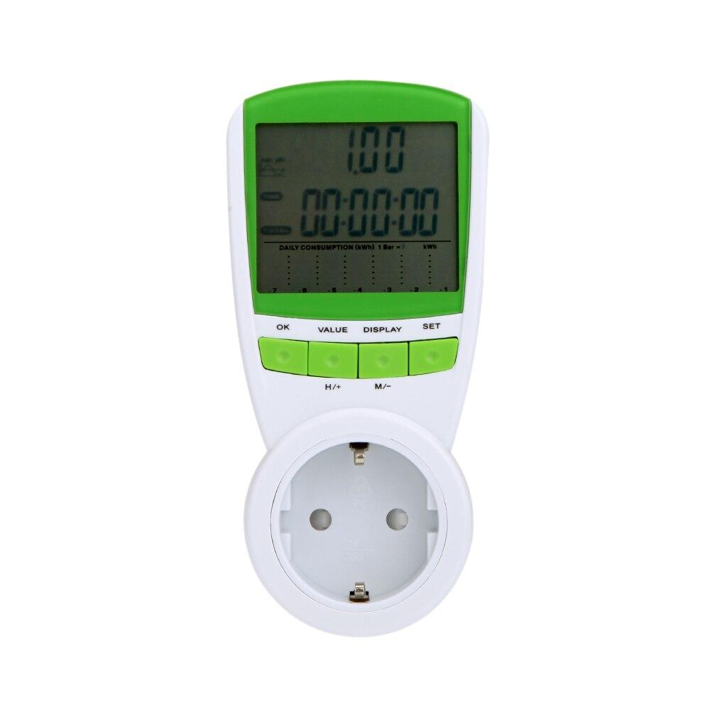 KKmoon 230V/ Medidor de Energ/ía Lcd Digital Plug-In/ Enchufe de la Ue Voltaje Voltaje Frecuencia Actual/Analizador Monitor/con Factor Potencia/Pantalla Sobrecarga Costes