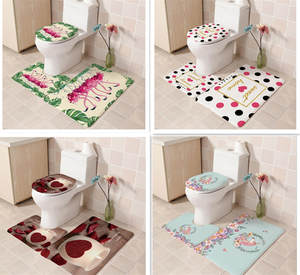 Doormats-Decor Carpet Bath-Mat Toilet Non-Slip Flannel Printed New 3pcs Kitchen Floor-Mat