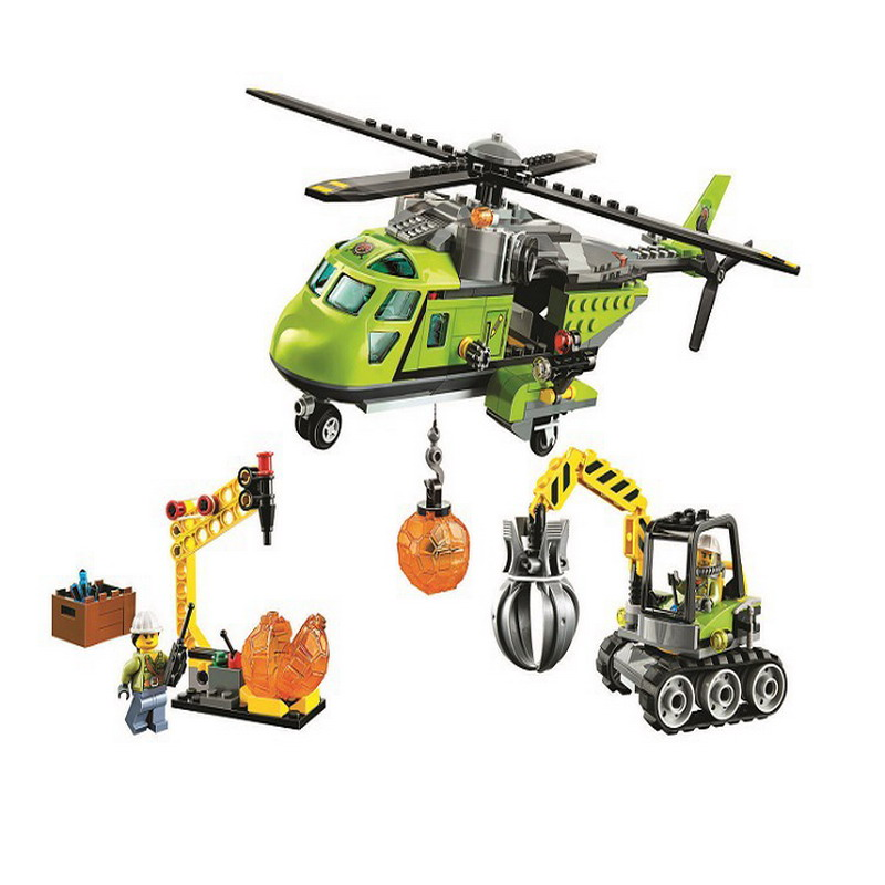 10640 BELA City Explorers Volcano Supply Helicopter Model Building Blocks Enlighten Figure Toys For Children Compatible Legoe 10639 bela city explorers volcano crawler model building blocks classic enlighten diy figure toys for children compatible legoe