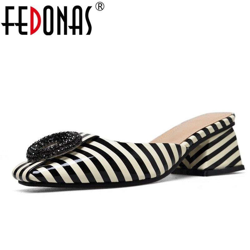 FEDONAS Women Patent Leather Sandals Square Heel Fashion Summer Slip On Comfort Slippers Lady Sandals Women