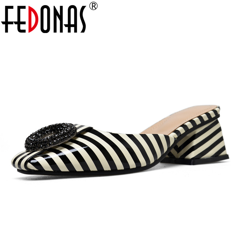 FEDONAS Women Patent Leather Sandals Square Heel Fashion Summer Slip-On Comfort Slippers Lady Sandals Women Casual Shoes Woman xiaying smile summer women sandals casual fashion lady square heel slip on flock shoes pointed toe cover heel lace bowtie shoes page 3