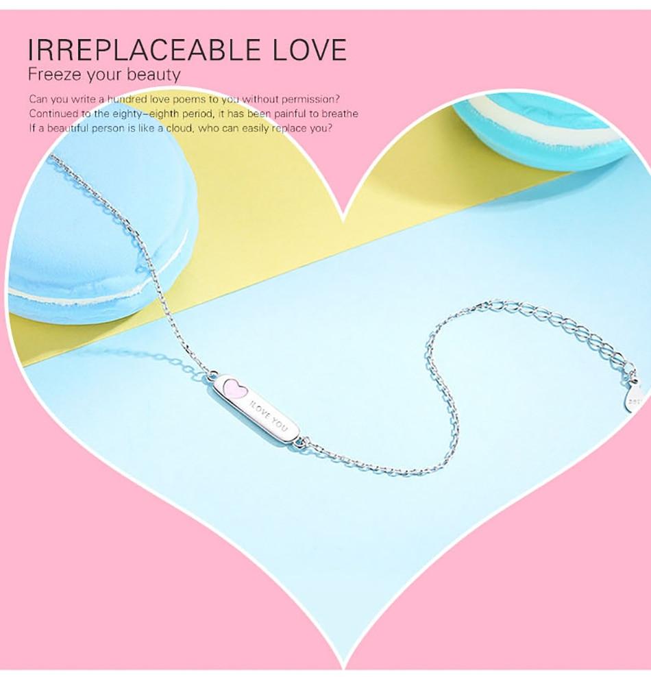 BELAWANG Free Engrave Name Enamel Heart Bracelet Personalized Name Bracelet  For Children 925 Sterling Silver Bracelet Customize