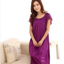 2014 New Arrival Sleepwear Fashion Home Apparel Round Collar Female Silk Nightgowns Hot Sale Lace Short