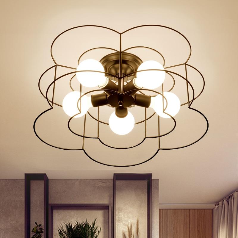 American Country Led Iron Stropní lampa E27 5 hlav Plum Bloss pro - Vnitřní osvětlení