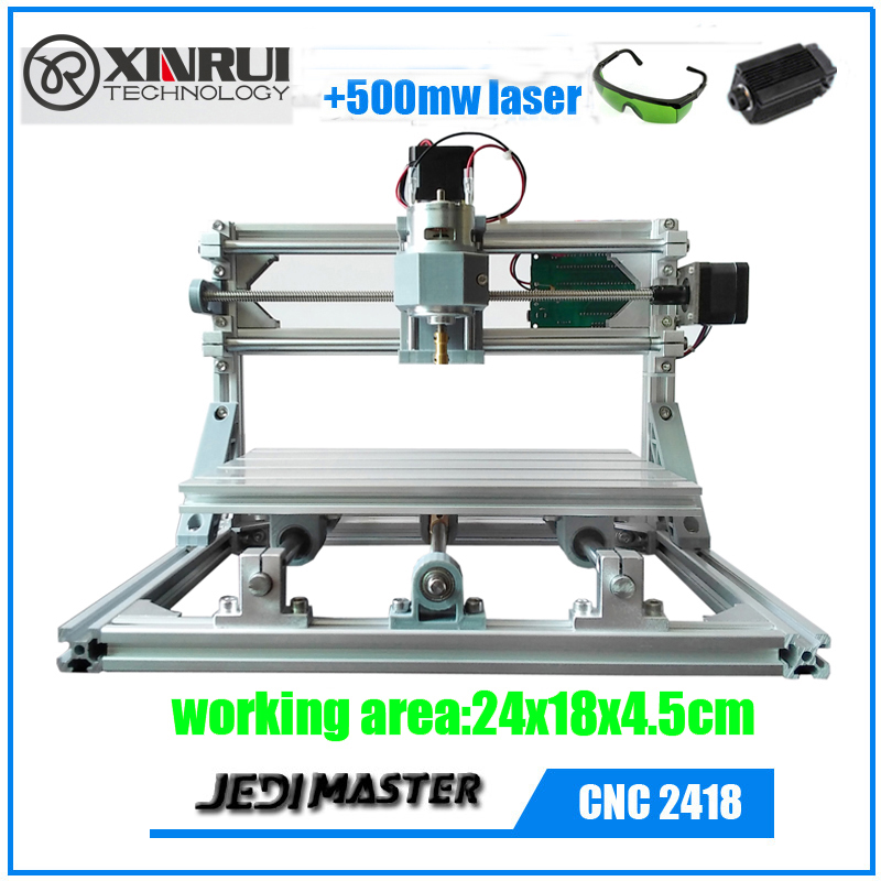 CNC 2418+500mw laser GRBL DIY CNC machine,work area 24x18x4.5cm,3 Axis Pcb Milling Machine, Wood Router ,Pvc Mill Engraver