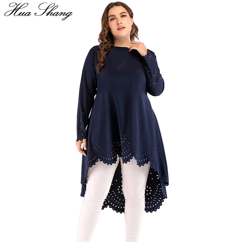 Islam Womens Tops And Blouses 5XL Plus Size Female O Neck Long Sleeve Hollow Out Irregular Tunic Tops Belted Long Women Shirts