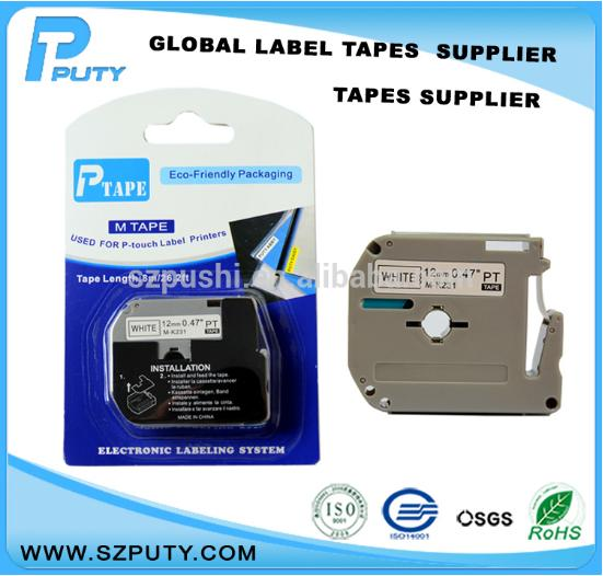 compatible P Touch M tape thermal label printers 12mm black on white M series M-K231 mk 231