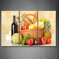 Framed Wall Art Pictures Fruit Vegetables Wine Basket Canvas Print Food Modern Posters With Wooden Frame For Living Room