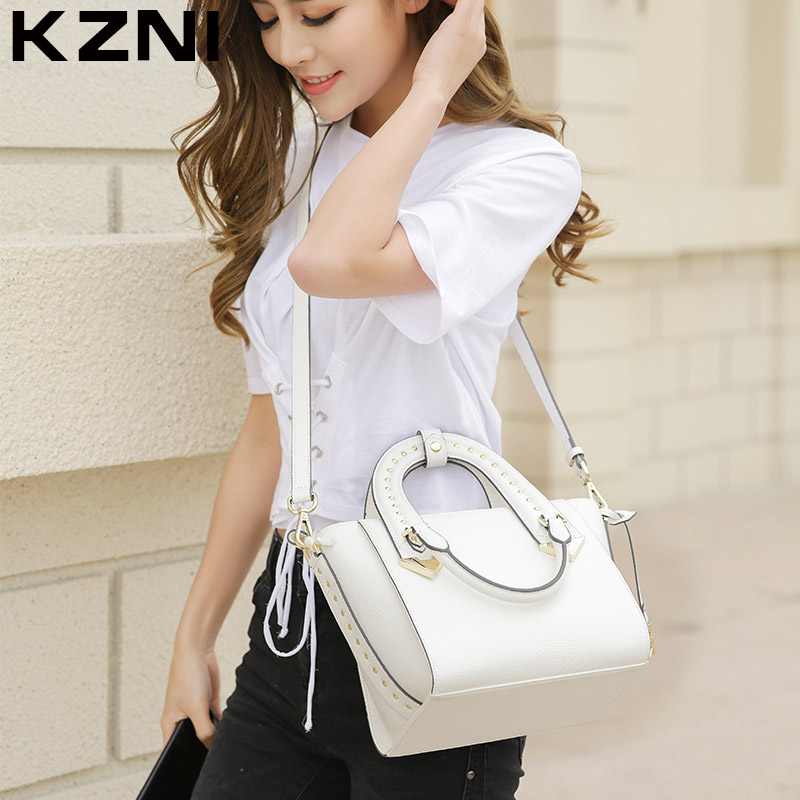 KZNI Genuine Leather Handbag Women Top-handle Tote Bag Crossbody Shoulder Clutch Purses and Handbags Bolsas Femininas 1375 kzni real leather tote bag high quality women leather handbags top handle bags purses and handbags bolsa feminina pochette 9057