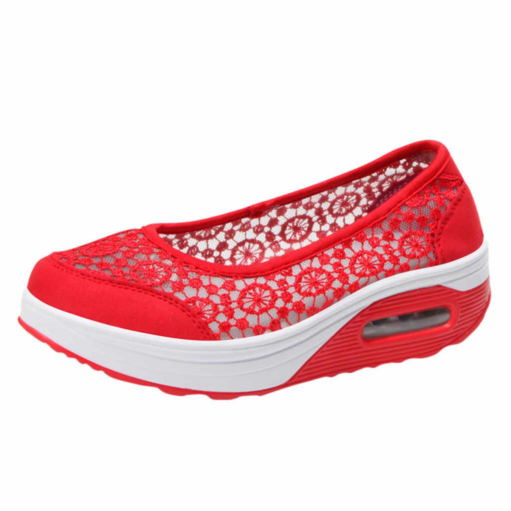 2019 Yeni Varış moda ayakkabılar kadın Bayanlar Dantel Hollow Nefes Kaymaz Ayakkabı Sneakers rahat ayakkabılar zapatos de mujer # BY20