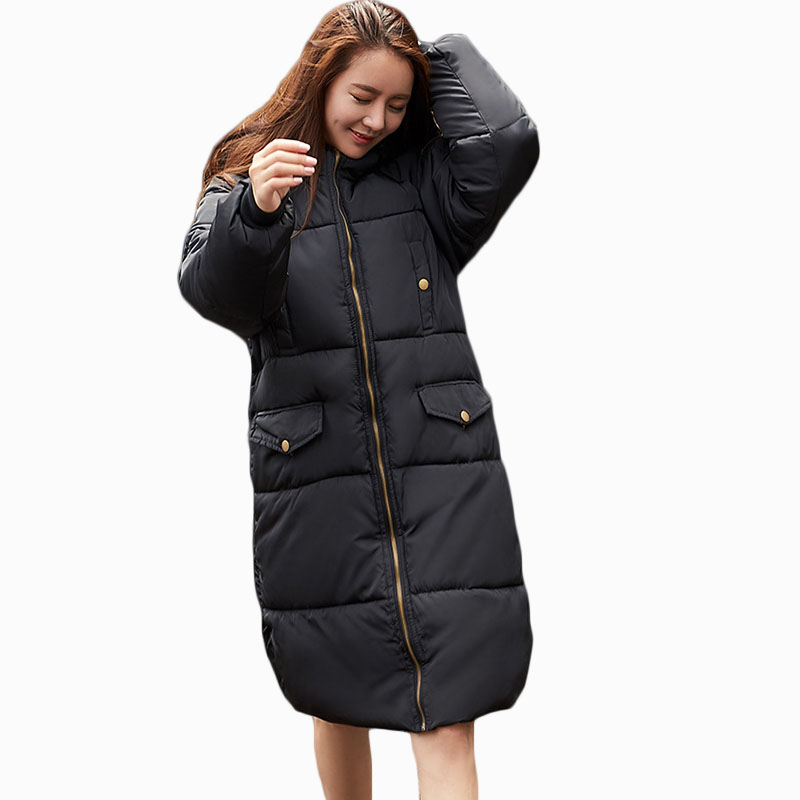 2017 NEW HOT WOMEN WINTER JACKER MID LENGTH PLUS SIZE LOOSE HOODED THICK WARM FEMALE PARKAS COTTON WADDED COAT ZL660