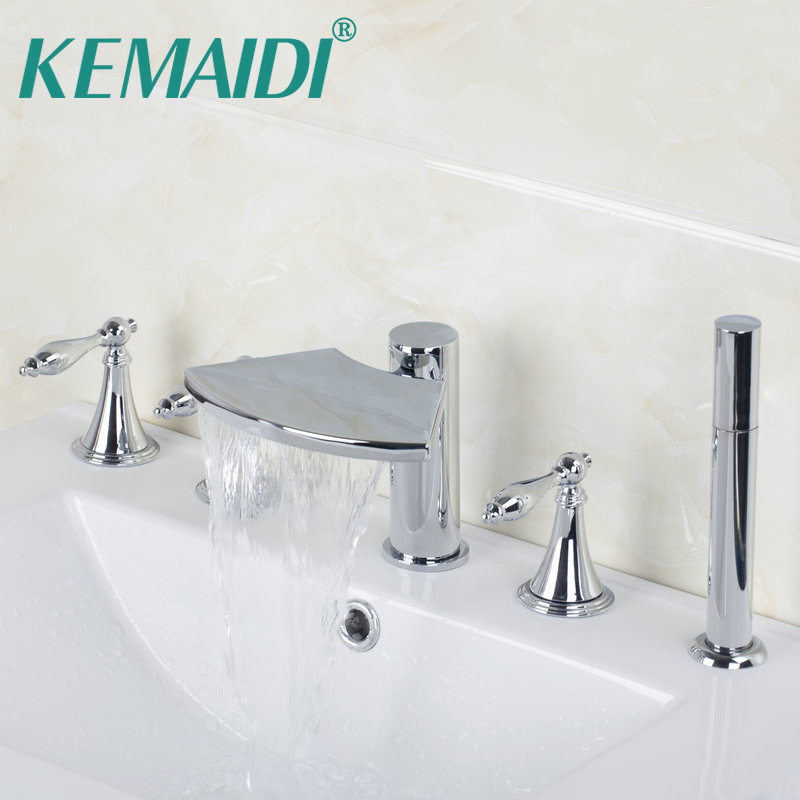 KEMAIDI 3 Handles Taps With Handle Shower Deck Mounted Waterfall Faucets Mixers & Taps Bathtub Mixer Bathtub Bathroom Faucet free shipping polished chrome finish new wall mounted waterfall bathroom bathtub handheld shower tap mixer faucet yt 5333