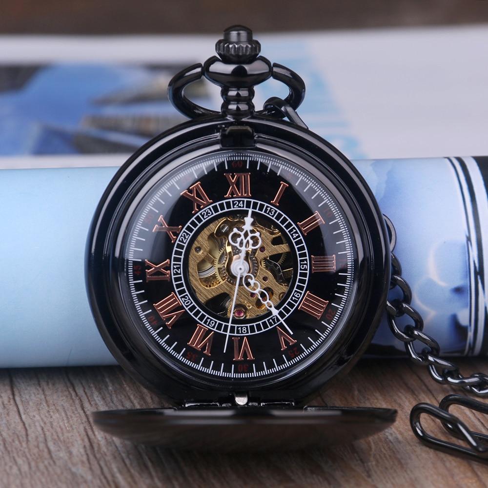 Steampunk Skeleton Mechanical Pocket Watch Men Antique Luxury Brand Necklace Pocket & Fob Watches Chain Male Clock