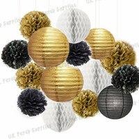 Gratis Verzending 1 sets (14-39 stks) Goud/Zwart/Wit Pom Poms & Lantaarns honingraat ballen Party Kit Verjaardag DIY Opknoping Decoratie