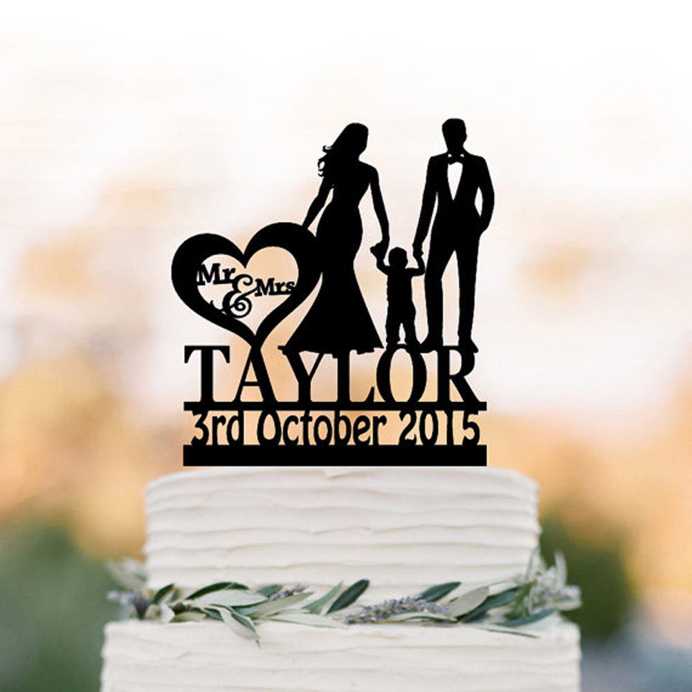 Family funny Wedding Cake topper with boy,Custom wedding ...
