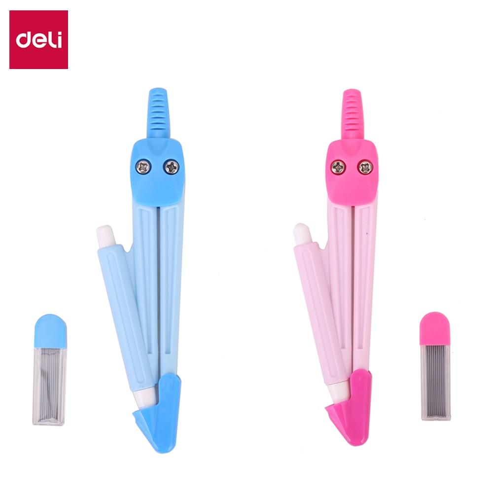 Deli E8622 School Compass Plastic Compass W/Pencil Pink Blue