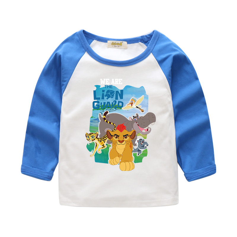 2018 Children Spring Lion Simba Print Long Sleeves T-shirt For Boy Girls Spring Patchwork Tee Tops Clothes Kids T Shirt CTX025