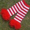 Navidad Calentador de la Pierna, Striped Ruffle Bebé Legging, rojo Blanco Rayado Calentador de La Pierna, Regalo de cumpleaños, niño