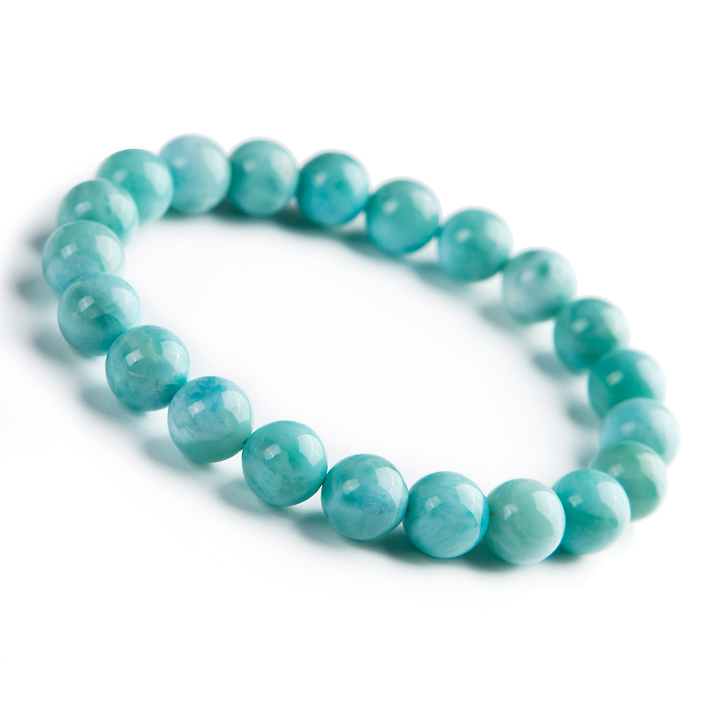Natural Blue Larimar Gemstone Round Beads Bracelet Stretch From Dominica 9mm AAAAAA