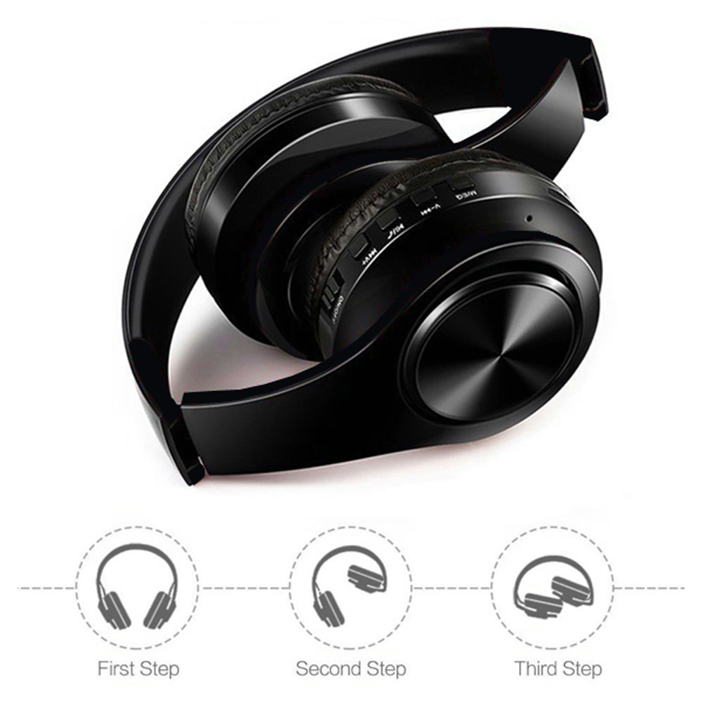 New Portable Fold Wireless Stereo Bluetooth Headphones Headset MP3 Player FM Radio Music ks 509 mp3 player stereo headset headphones w tf card slot fm black