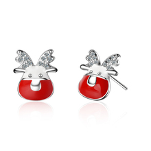 Everoyal Fashion 925 Sterling Silver Earrings For Female Jewelry Cute Elk Red Women Accessories
