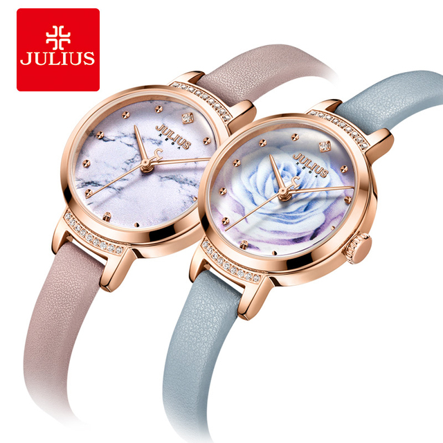Julius Lady Casual 3D Rose Flower Dial Leather Dress Watch Woman Luxury Crystal Inlay Quartz Wrist Watches Creative Montre Femme