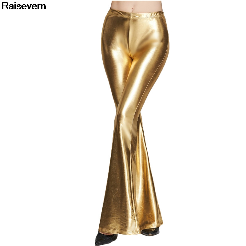 New Gold   Pants   Women Sexy High Wasit   Pants   2018 Sequined   Wide     Leg     Pants   Casual Long Trousers Female Solid Silver Black   Pants