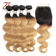 BOBBI COLLECTION Brazilian Body Wave T 1B 27 Honey Blonde Ombre Hair 3/4 Bundles With Closure Pre-Colored Remy Human Hair Weave linlin hair pre colored ombre blonde indian straight hair weave 3 bundles 1b 27 non remy indian 100% human hair rollers