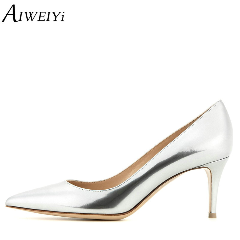 AIWEIYi Women Pumps Spring Autumn 6.5CM Pointed Toe Patent Leather Pumps Kitten Heels Shoes Med Heels Pumps Ladies Wedding Shoes facndinll 2018 spring women pumps shoes med heels pointed toe rivets patent leather rome style shoes woman casual shoes pumps