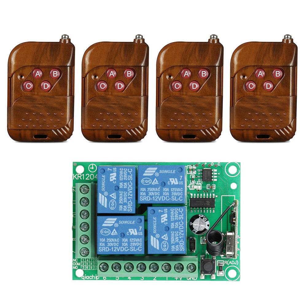 QIACHIP 433 Mhz Wireless DC 12V 4CH relay 1527 Learning code Receiver Module and 4pcs 433Mhz RF Transmitter Switch Control universal 433 mhz 2 channel remote control learning code 1527 relay receiver module wireless diy garage gate door switch dc 12v