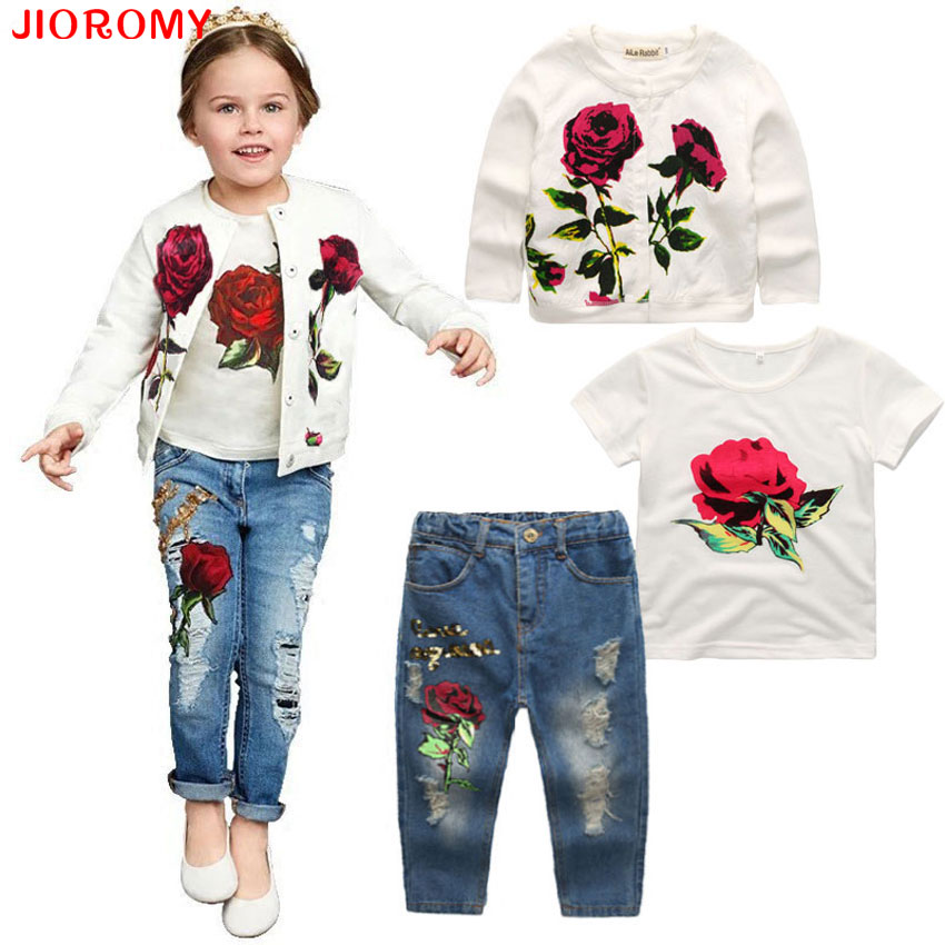 2019 Hot Girls Kläder Suit Jacka + T-shirt + Jeans 3 Pieces Fashion Rose Långärmad Coat Shirt Denim Barnkläder Set