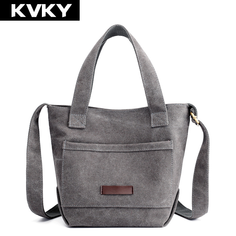 Women's Canvas Handbags Single Shoulder Bag Solid Messenger Bag Multi-Pocket Ladies Totes Bolsas