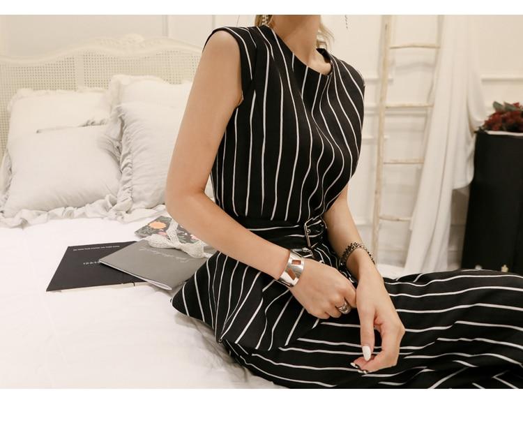 2018 Korean Summer Temperament Sleeveless Two Piece Set Stripe Fashion Wide Legging 2 Piece Set Women 8