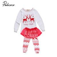 Newborn Baby Girls Christmas Clothes Tops Lace Pants Tutu Dress 2PCS Outfits Enfant Children Kids Girl