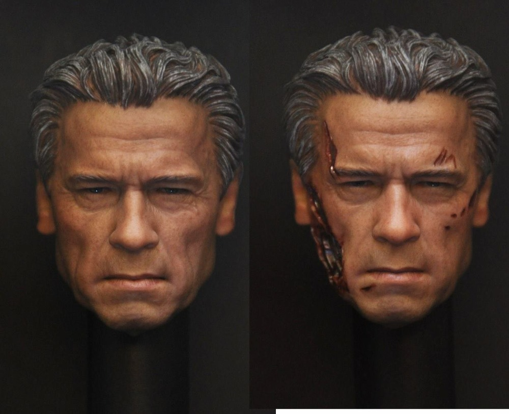 Hot 2016 1/6 Scale Terminator 4 T800 Old Arno Head Sculpt for 12 Action Figure DIY gmasking terminator 2 t800 endoskeleton skull head statue scale 1 2 replica