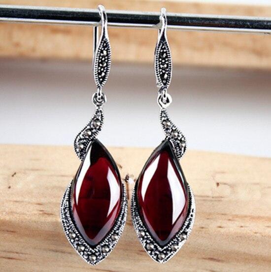 Thai silver shaped retro garnet red corundum Earrings Blue 925 Silver Earrings цены онлайн