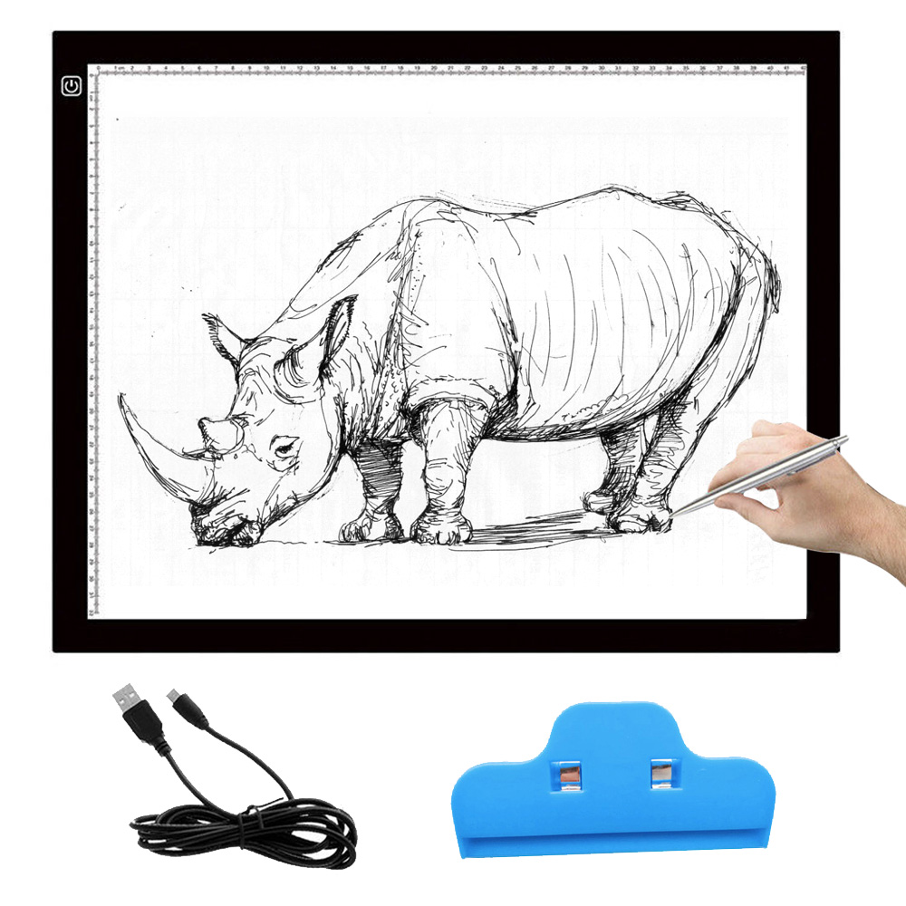 A3 Portable LED Drawing Board Eyesight protected Touch Dimmable Tracing Table Light Pad Box with Clip