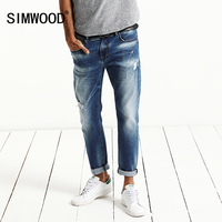 SIMWOOD 2017 Summer New Fashion Jeans Men Monkey Wash Denim Trousers Slim Fit Plus Size Brand