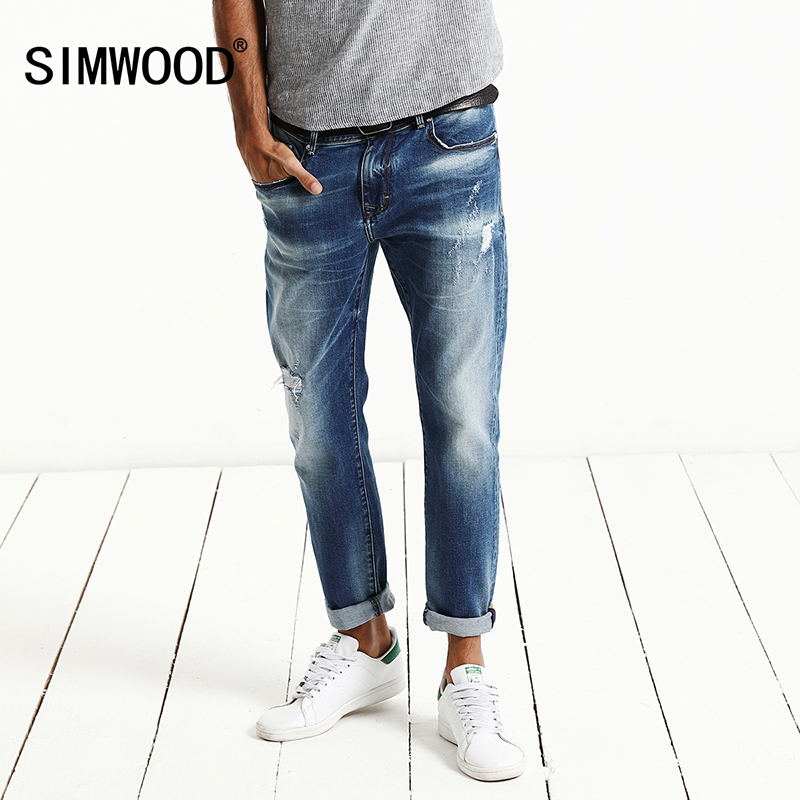 SIMWOOD 2017 Autumn New Fashion Jeans Men Monkey Wash Denim Trousers Slim Fit Plus Size brand Clothing High Quality  NC017002 men jeans 2017 autumn winter mens denim jean blue cotton pants men denim trousers slim fit jeans male plus size high quality