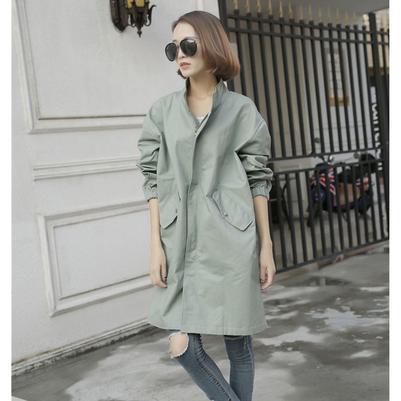 2019 spring autumn Korean women straight solid color long   trench   coat zipper pocket drawstring waistwindbreaker coat female d19