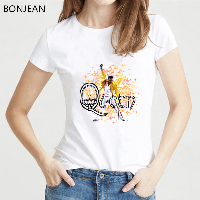 Freddie Mercury The Queen Band T Shirt Women Hip Hop Retro Rock Hipster tshirt vague casual t shirt Female white Tops Tees in T Shirts from Women 39 s Clothing