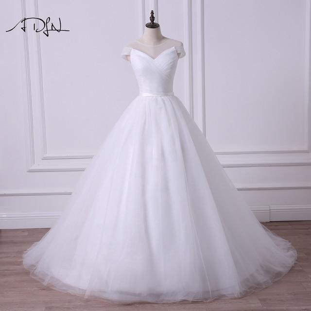 ADLN Einfache Sheer Neck Cap Sleeve Prinzessin Puffy Hochzeit Kleid Robe de Mariee A linie Tüll Weiß/Elfenbein Brautkleid angepasst