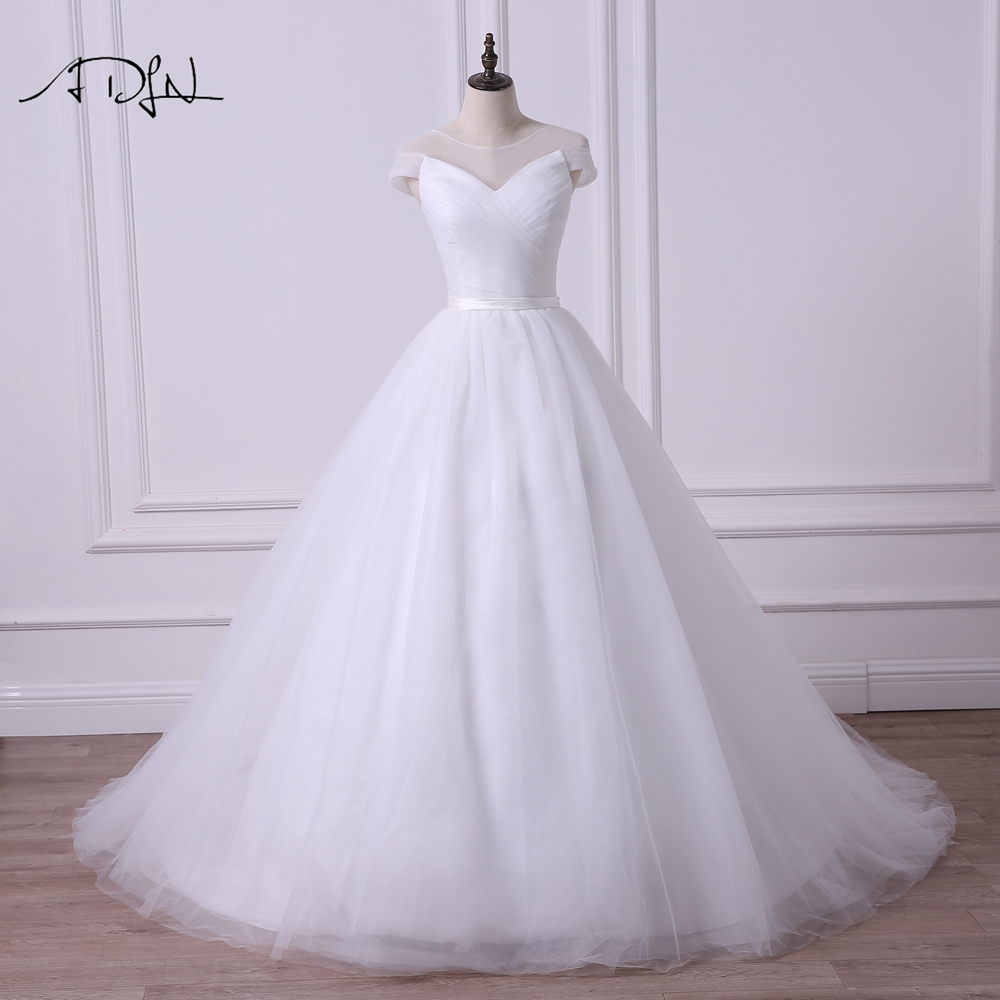 adln simple sheer neck cap sleeve princess puffy wedding dress robe de mariee a line tulle white