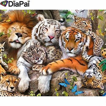 DIAPAI Diamond Painting 5D DIY 100% Full Square/Round Drill Lion leopard tiger Diamond Embroidery Cross Stitch 3D Decor A24570 diapai diamond painting 5d diy 100% full square round drill flower landscape diamond embroidery cross stitch 3d decor a24411