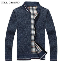 HEE GRAND Men Fashion Style Thick Sweater Stand Collar Solid Color Thin Wool WarmEarly Spring Cardigan Plus Size M-3XL MZL683