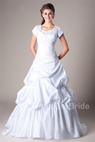 Vintage Taffeta Modest Wedding Dresses With Cap Sleeves Sweetheart White Ball Gown Pick Ups Bride's Lace Up Formal Bridal Gowns